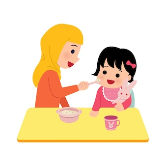 Hijab mom feeding her baby daughter. mother give nutritious porridge to toddler.   parenting clip art  on white background.