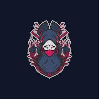 Hijab muslim geisha japanese illustration