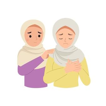 彼女の動揺した友人を慰めるヒジャーブの女性。フラットな漫画のデザイン