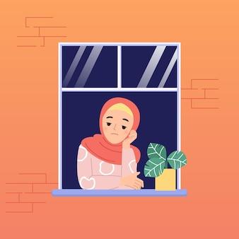 Hijab 여성은 코로나 바이러스 전염병으로 집에 머무르는 것이 지루함을 느낍니다. 벽돌 벽에 창입니다. 플랫 만화 디자인.