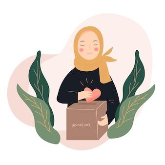 Женщина в хиджабе делает пожертвование плоской иллюстрации