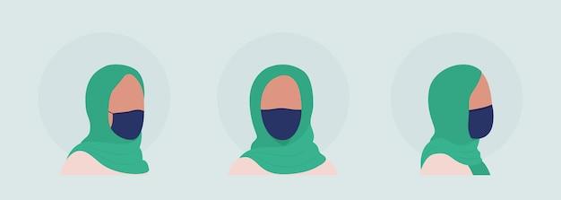 마스크 세트가 있는 히잡 여성 세미 플랫 컬러 캐릭터 아바타