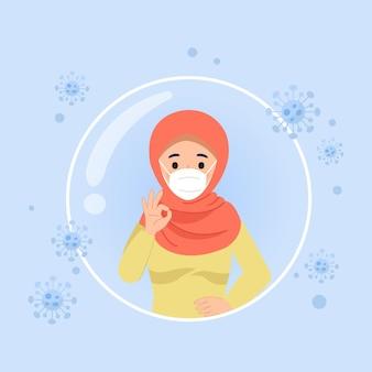 Hijab 여자는 코로나 바이러스 예방 접종 개념 평면 벡터 디자인에서 보호 손 제스처를 보여줍니다