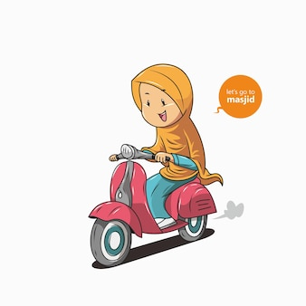 Hijab women riding motorbikes Premium Vector