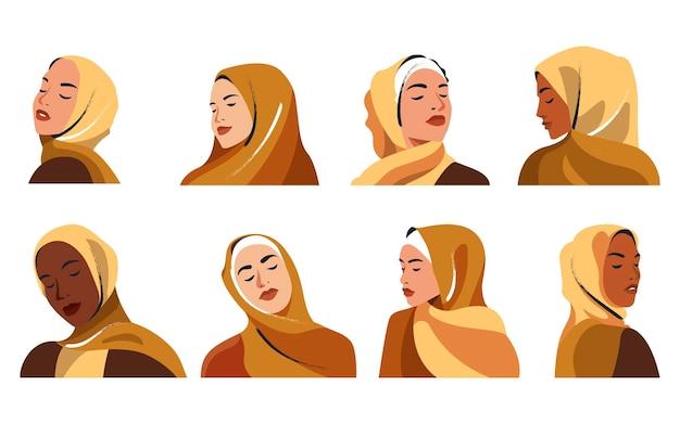 Hijabi woman portraits vector illustration
