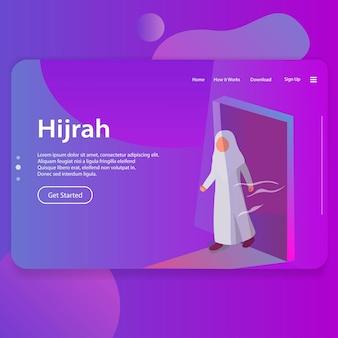 Hijrah illustration of islamic new year landing page ui web design