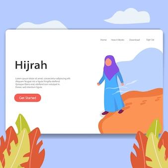 Hijrah illustration landing page web template design