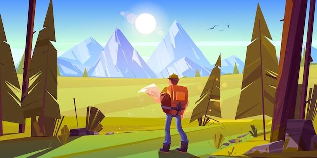 地平線に山と森のハイカー男