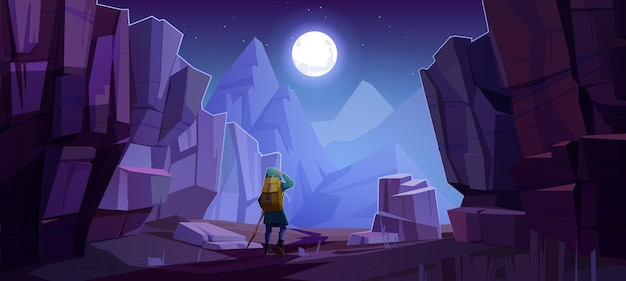 Hiker man on road in mountains at night. vector cartoon landscape of nature park with canyon, stone cliffs, rocks, moon in sky and tourist with backpack for hiking on path Free Vector