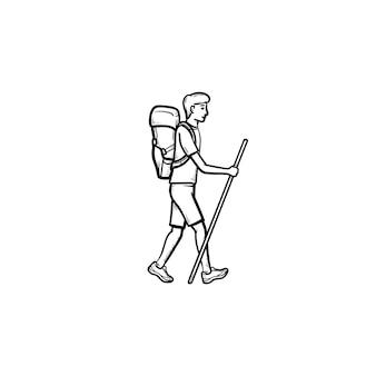 배낭 산책 손으로 그린 개요 낙서 아이콘 등산객. 등산, 관광 하이킹 개념입니다. 인쇄, 웹, 모바일 및 흰색 배경에 인포 그래픽에 대한 벡터 스케치 그림.