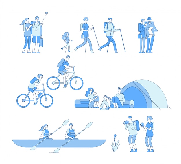 Hikers characters. friends campfire travel tourist group hiking riding bike boat rafting trekking family explore nature line