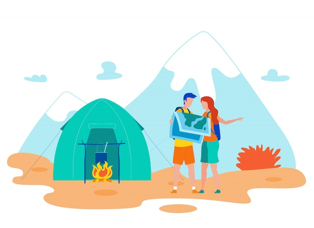 Hikers checking map cartoon vector illustration