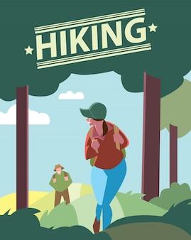 Hikers walking in outdoor.