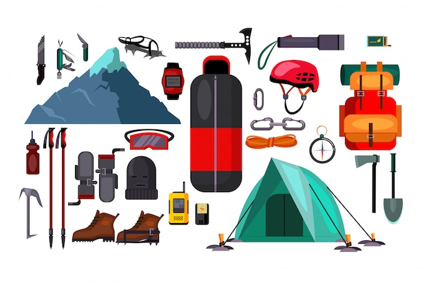 Hiking and active lifestyle set illustration