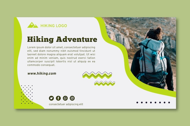 Hiking adventure banner template