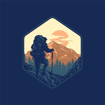 Hiking adventure, hand drawn line style with digital color