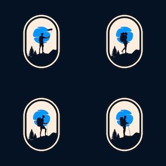 Пешие прогулки приключения дизайн векторных логотипов