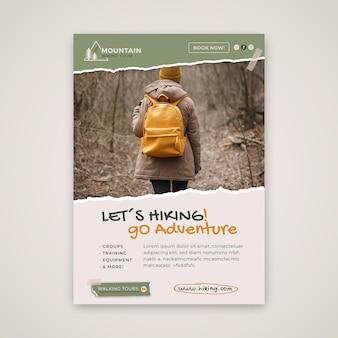 Hiking adventure vertical flyer template