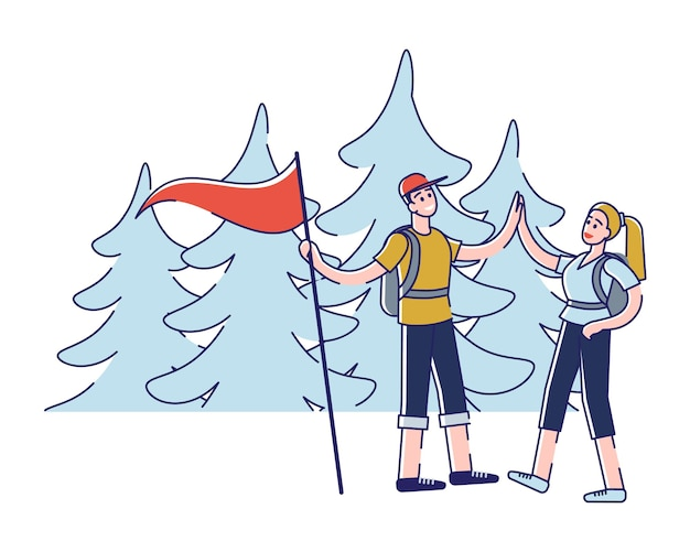 Hiking alpinism and camping tourist couple man and woman are going hike