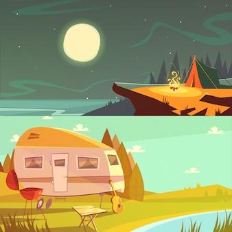 하이킹 및 캠핑 만화 가로 배너 세트