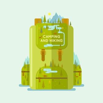 Hiking backpack illustration for web design
