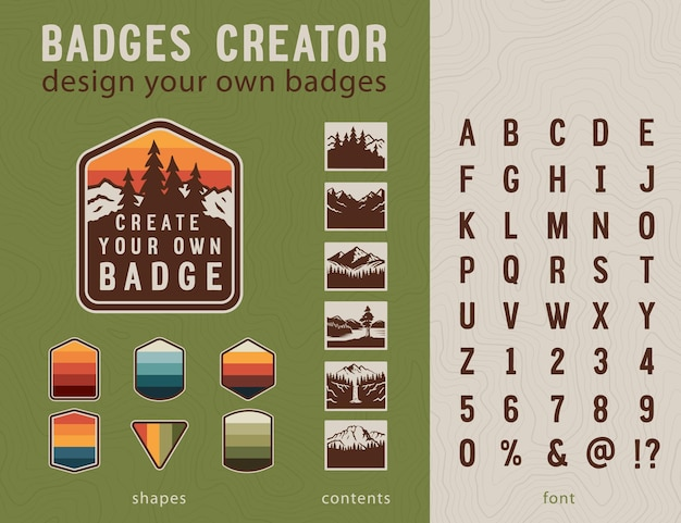 Hiking badge creator vintage patches elements and handmad font design your own badges