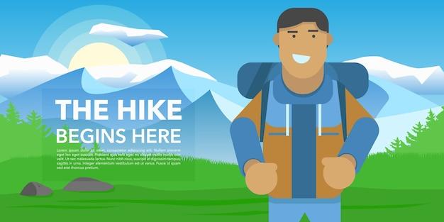 Hiking banner design Free Vector