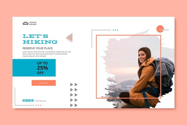 Hiking banner template with photo