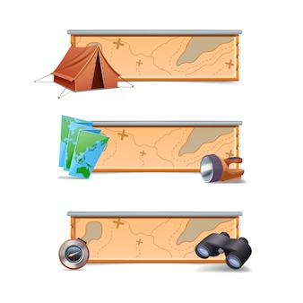 Hiking banners horizontal set