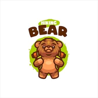 Hiking bear cartoon logo for your company