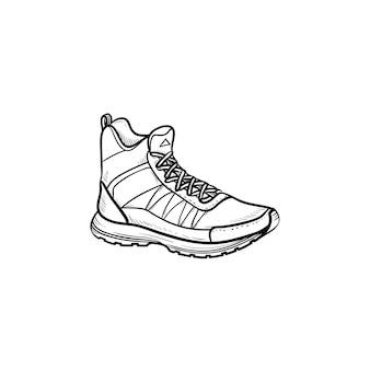 Походные загрузки рисованной наброски каракули значок. спорт, походная обувь, концепция удобной обуви для горных прогулок