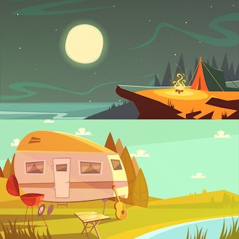 Hiking and camping cartoon horizontal banners set