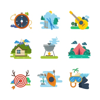 Hiking, camping flat icons collection. kayaking and diving, skiing and hunting, vector illustration