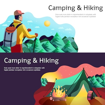 Hiking camping horizontal banners