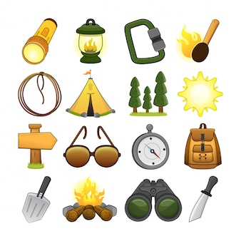 Hiking and camping icon set