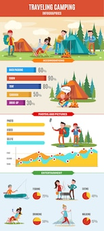 Hiking and camping infographic concept