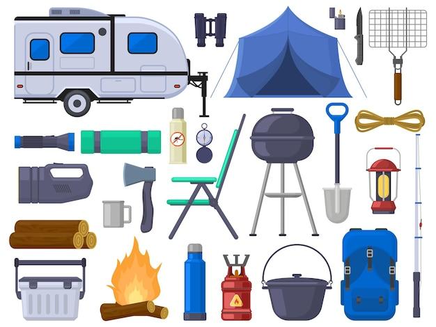 하이킹 캠핑 야외 모험 관광 요소. 자연 모험 텐트, 이동식 주택, 그릴, 캠프파이어, 쌍안경 벡터 일러스트레이션 세트. 야외 캠핑 장비