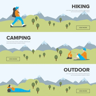 Hiking, camping and outdoor leisure banners