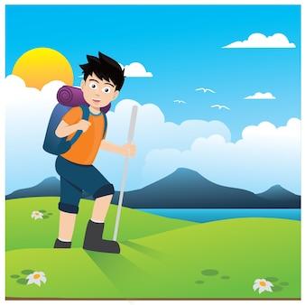 Hiking cartoon background