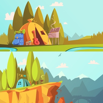 Hiking cartoon horizontal banners set