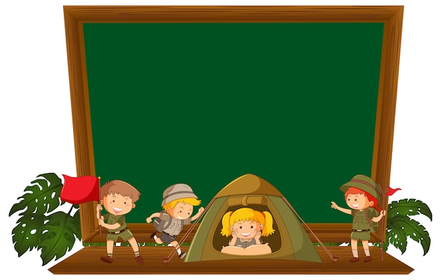 Hiking children on blackboard
