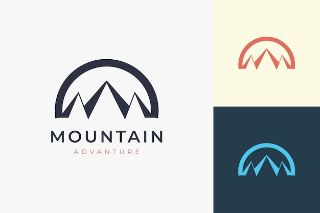 Hiking or climbing logo template in simple and modern mountain shape
