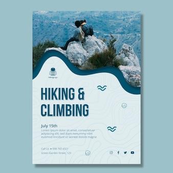 Modello di poster per escursioni e arrampicate