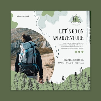 Hiking and climbing squared flyer template