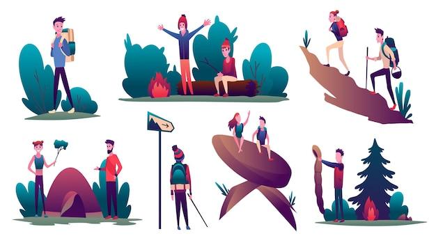 ハイキング。ハイキングの冒険旅行やキャンプ旅行中の若者のコレクション。