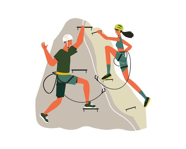 Composizione escursionistica di persone con attrezzatura da alpinismo che si arrampicano sull'illustrazione della scogliera