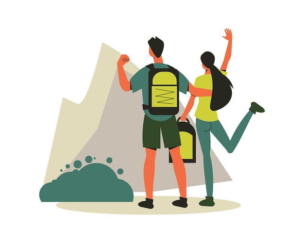 Hiking composition with characters of loving couple standing on mountain peak illustration