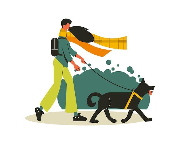 Composizione escursionistica con ragazza che porta a spasso il suo cane nell'illustrazione selvaggia