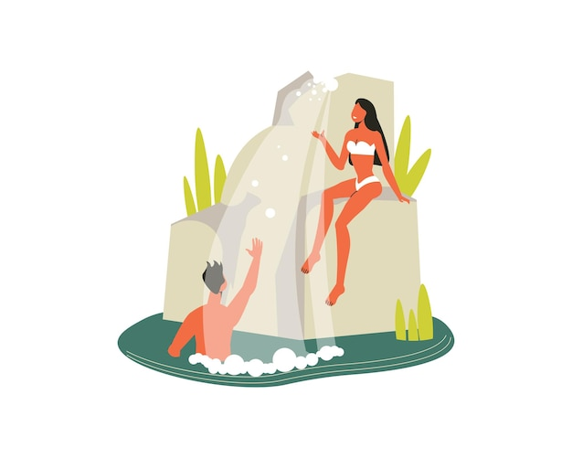 Hiking composition with view of cliff with waterfall and bathing man with woman illustration