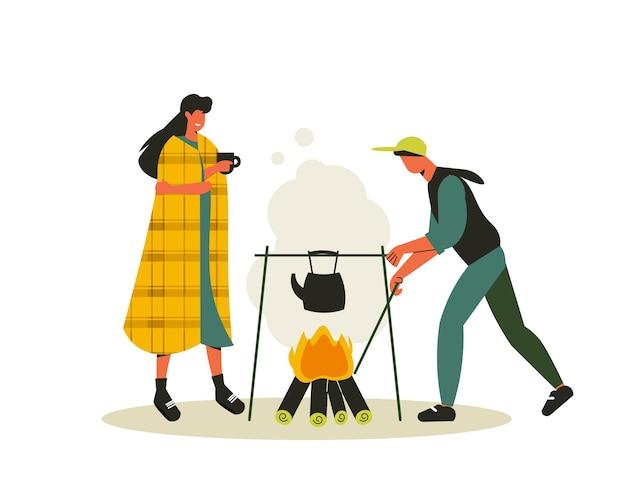 急須の男と女とお茶のイラストをぶら下げて焚き火の景色を望むハイキング構成